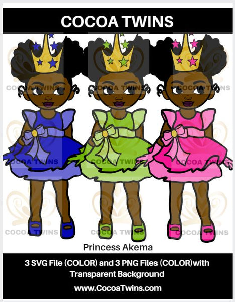 Digital Download  - Princess Akema - SVG Layered File and PNG File Format - Cocoa Twins