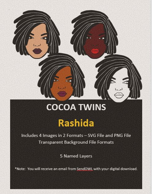 Digital Download  - Rashida - SVG Layered File and PNG File Format - Cocoa Twins