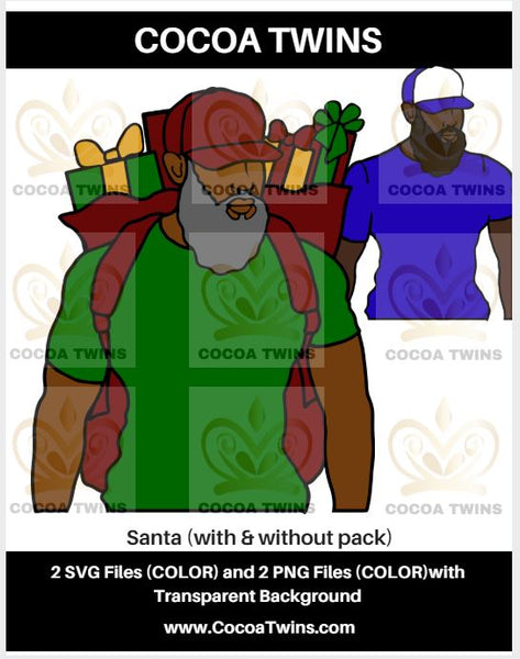 Digital Download  - Santa with Locs - SVG Layered File and PNG File Format - Cocoa Twins