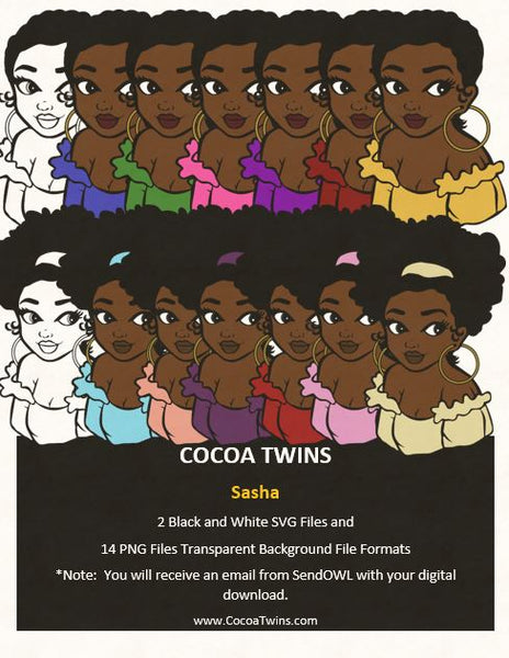 Digital Download  - Sasha- SVG Layered File and PNG File Format - Cocoa Twins