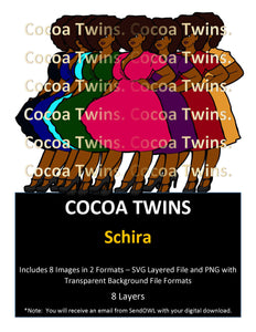 Digital Download  - Schira - SVG Layered File and PNG File Format - Cocoa Twins