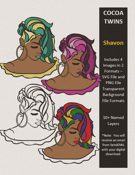 Digital Download  - Shavon - SVG Layered File and PNG File Format - Cocoa Twins