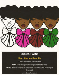Digital Download  -  Short Afro and Bow Tie - SVG Layered File and PNG File Format - Cocoa Twins