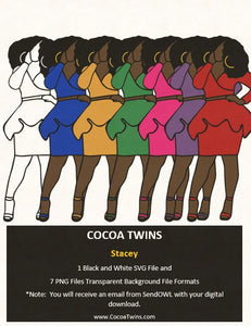 Digital Download  -  Stacey - SVG Layered File and PNG File Format - Cocoa Twins