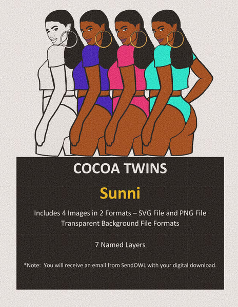Digital Download  - Sunni - SVG Layered File and PNG File Format - Cocoa Twins