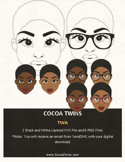 Digital Download  -  TWA - SVG Layered File and PNG File Format - Cocoa Twins