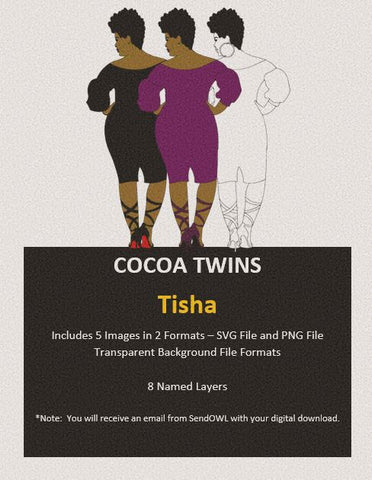 Digital Download  - Tisha - SVG Layered File and PNG File Format - Cocoa Twins
