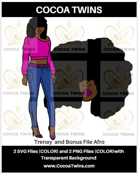 Digital Download  - Trenay plus a Bonus File - SVG Layered File and PNG File Format - Cocoa Twins
