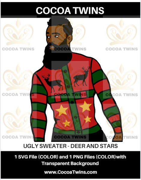 Digital Download  -  Ugly Sweater - Deer and Stars - SVG Layered File and PNG File Format - Cocoa Twins