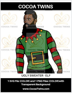 Digital Download  -  Ugly Sweater - Elf - SVG Layered File and PNG File Format - Cocoa Twins