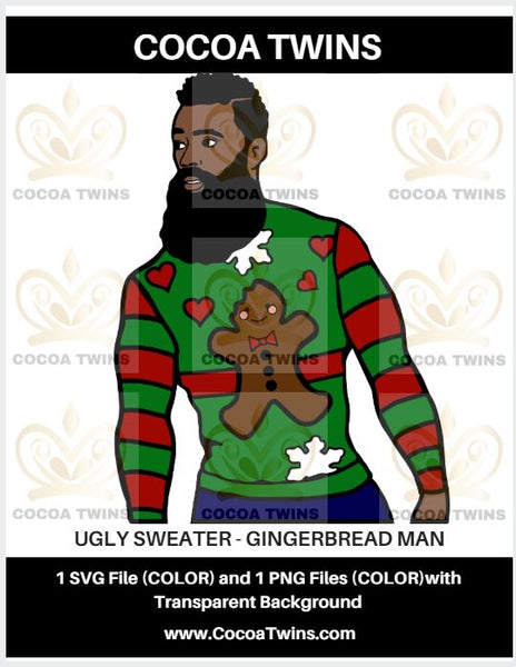 Digital Download  -  Ugly Sweater - Gingerbread Man - SVG Layered File and PNG File Format - Cocoa Twins