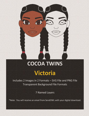Digital Download  - SVG Cut File (Color) - Victoria - Cocoa Twins