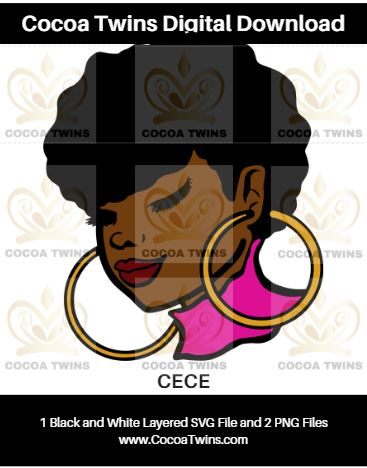 Digital Download  - CECE - SVG Layered File and PNG File Format - Cocoa Twins