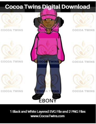 Digital Download  - EBONY - SVG Layered File and PNG File Format - Cocoa Twins