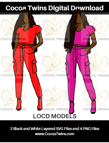 Digital Download  - LOC'D MODELS - SVG Layered File and PNG File Format - Cocoa Twins
