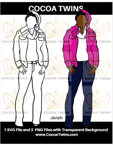 Digital Download  - Jerah - SVG Layered File and PNG File Format - Cocoa Twins