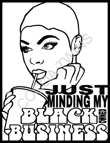 Minding My Black Owned Business Coloring Page and Prompted Journal Page by Cocoa Twins