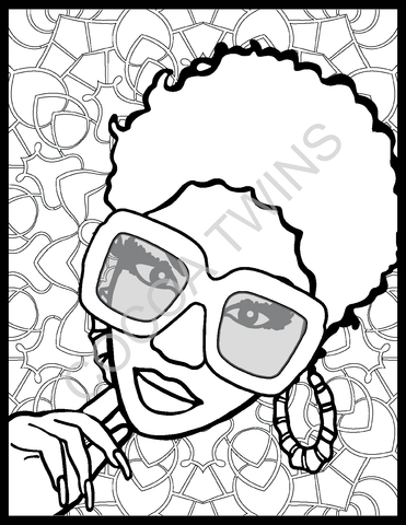 Self Acceptance Coloring Page and Prompted Journal Page by Cocoa Twins