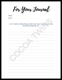 My Creativity Coloring Page and Prompted Journal Page by Cocoa Twins