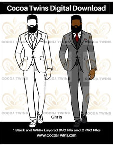 Digital Download  -  Chris - SVG Layered File and PNG File Format - Cocoa Twins