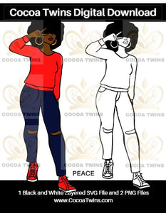 Digital Download  - Peace - SVG Layered File and PNG File Format - Cocoa Twins