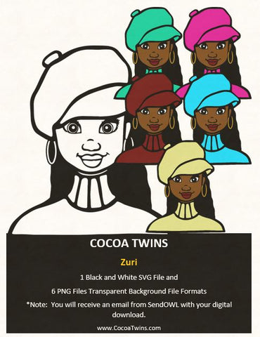 Digital Download  - Zuri - SVG Layered File and PNG File Format - Cocoa Twins