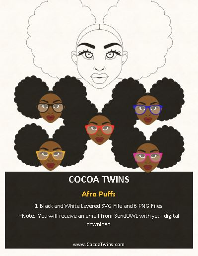 Digital Download  -  Afro Puffs - SVG Layered File and PNG File Format - Cocoa Twins