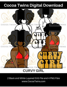 Digital Download  - Curvy Girl - SVG Layered File and PNG File Format - Cocoa Twins