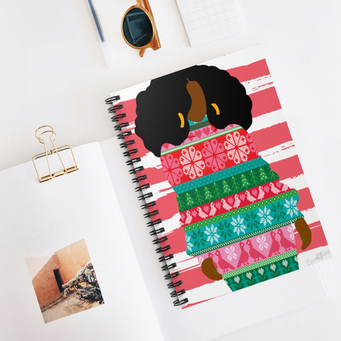 02C Cocoa Twins Ugly Sweater Spiral Notebook - Ruled Line