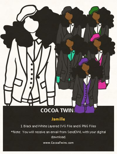 Digital Download  - Jamille - SVG Layered File and PNG File Format - Cocoa Twins