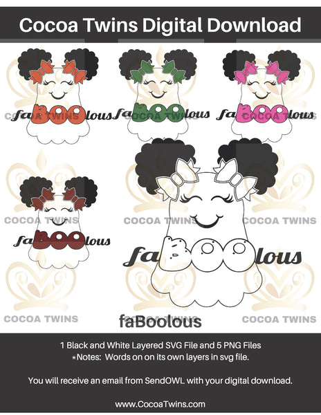 Digital Download  -  faBOOlous - SVG Layered File and PNG File Format - Cocoa Twins