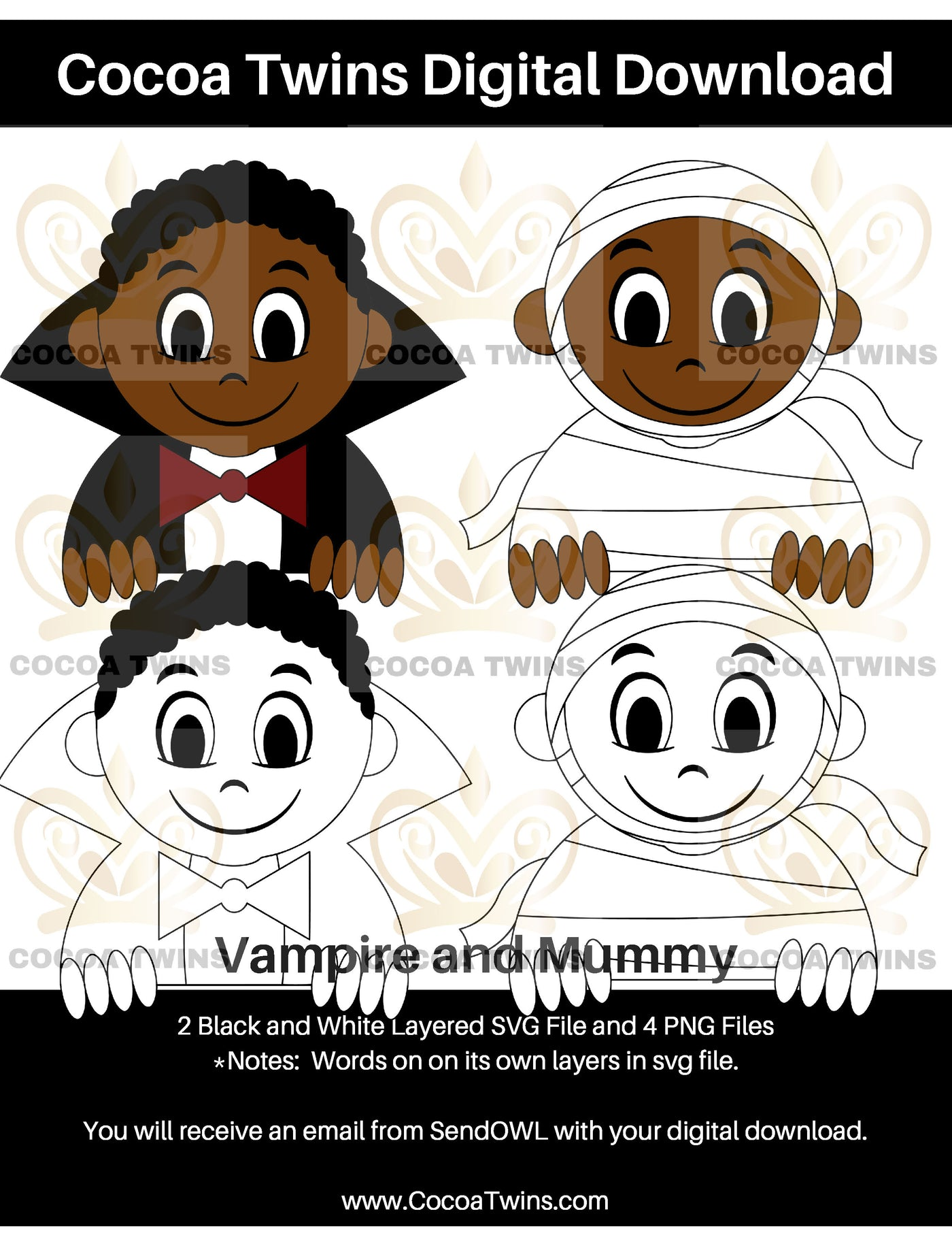 Digital Download  -  Vampire and Mummy - SVG Layered File and PNG File Format - Cocoa Twins