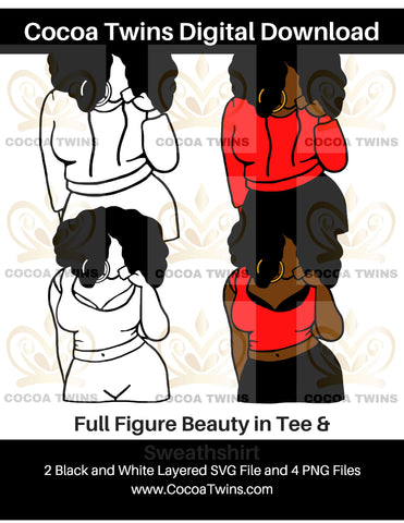 Digital Download  - Full Figure Beauty - SVG Layered File and PNG File Format - Cocoa Twins