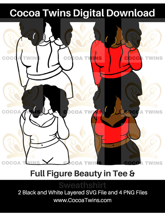 Digital Download  - Full Figure Beauty - SVG Layered File and PNG File Format