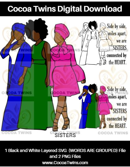 Digital Download  - Sisters - SVG Layered File and PNG File Format - Cocoa Twins