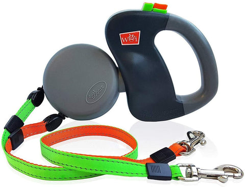 Two Dog Reflective Retractable Pet Leash – 360 Degree Zero Tangle Patent - Two Dogs Each up to 50 lbs and 10ft. Reflective Orange and Green Leads. Dual lockin