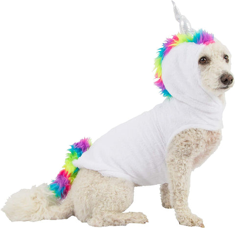 Mission Pets Unicorn Dog Costume, Size Medium/Large, Features a White Hoodie with a Rainbow Mane and Silver Hor