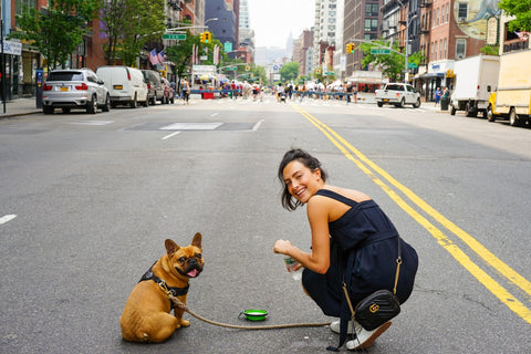 Woman giving dog water in city