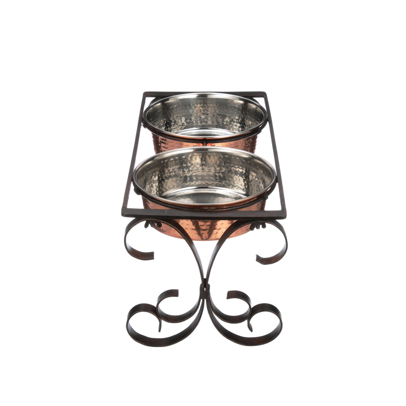 Normandy Wrought Iron Feeder with Hammered Copper Finish Stainless Steel Bowls