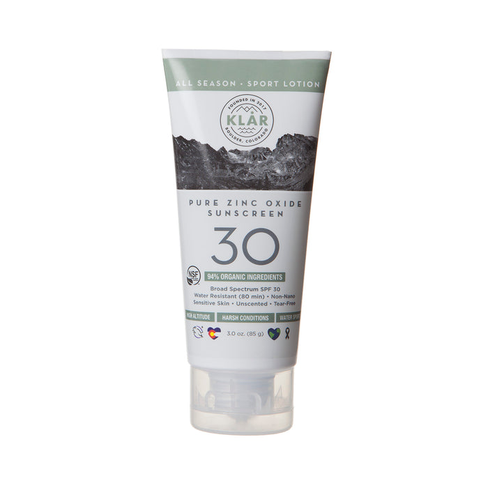 Pure Zinc Oxide SPF 30 Lotion is an organic, broad spectrum, water-resistant, high-performance all-mineral sunscreen; KLAR sunscreen; KLAR high altitude sunscreen; KLAR skin care