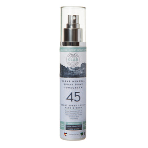 Clear Mineral Face SPF 45 Spray Lotion is a gentle, lightweight, transparent, water-resistant, high-performance all-mineral sunscreen; KLAR sunscreen; KLAR high altitude sunscreen; KLAR skin care