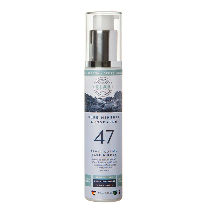Pure Mineral SPF 47 Lotion is a gentle, lightweight, transparent, water-resistant, high-performance all-mineral sunscreen; KLAR sunscreen; KLAR high altitude sunscreen; KLAR skin care