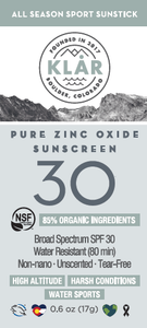 Pure Zinc Oxide SPF 30 Sunstick is an organic, broad spectrum, water-resistant, high-performance all-mineral sunscreen; KLAR sunscreen; KLAR high altitude sunscreen; KLAR skin care