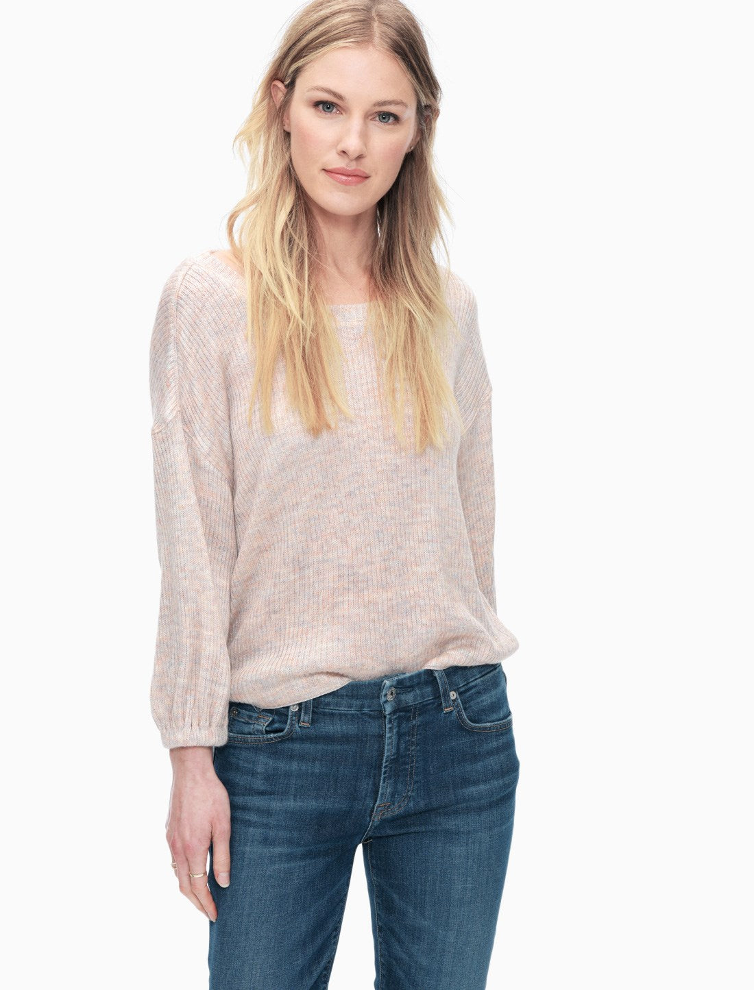 Splendid IMPRESSIONIST SHIRRED SLEEVE TOP