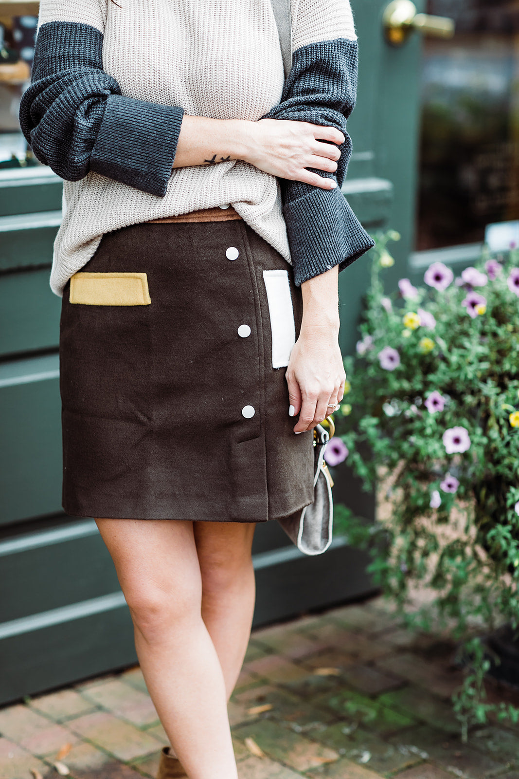 JOA Colorblock Mini Skirt
