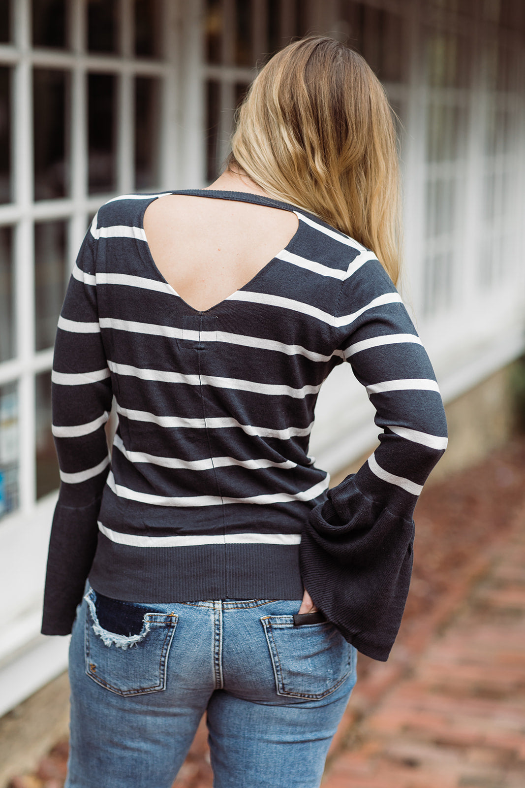 Chaser V Neck Peplum Sleeve Sweater