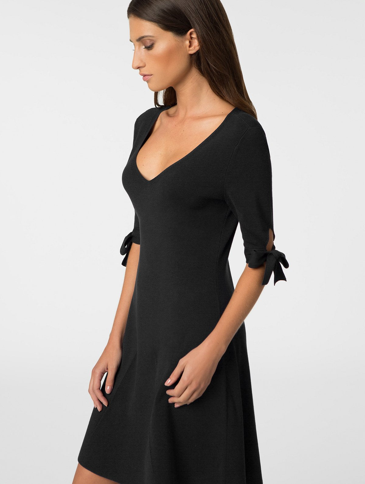 525 AMERICA Tie-Sleeve Fit & Flare Knit Dress