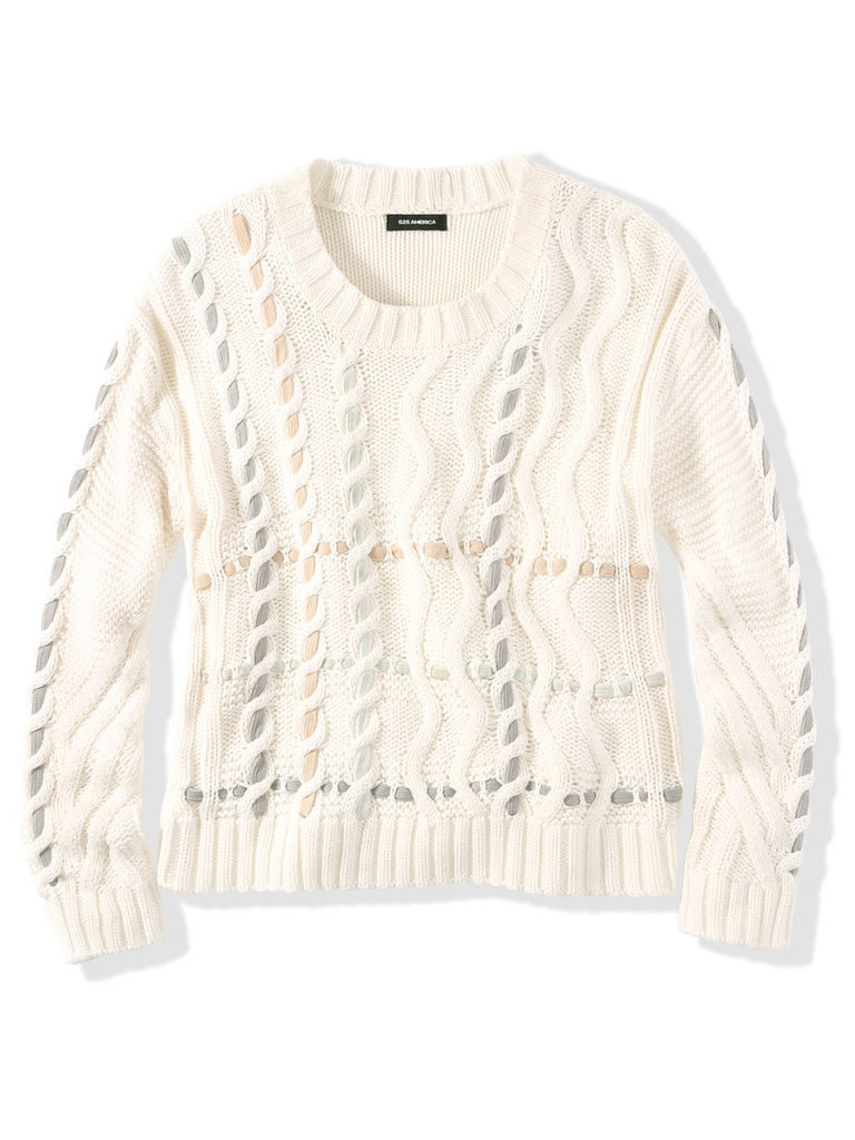 525 America Cotton Cable Crosshatch Weave Sweater