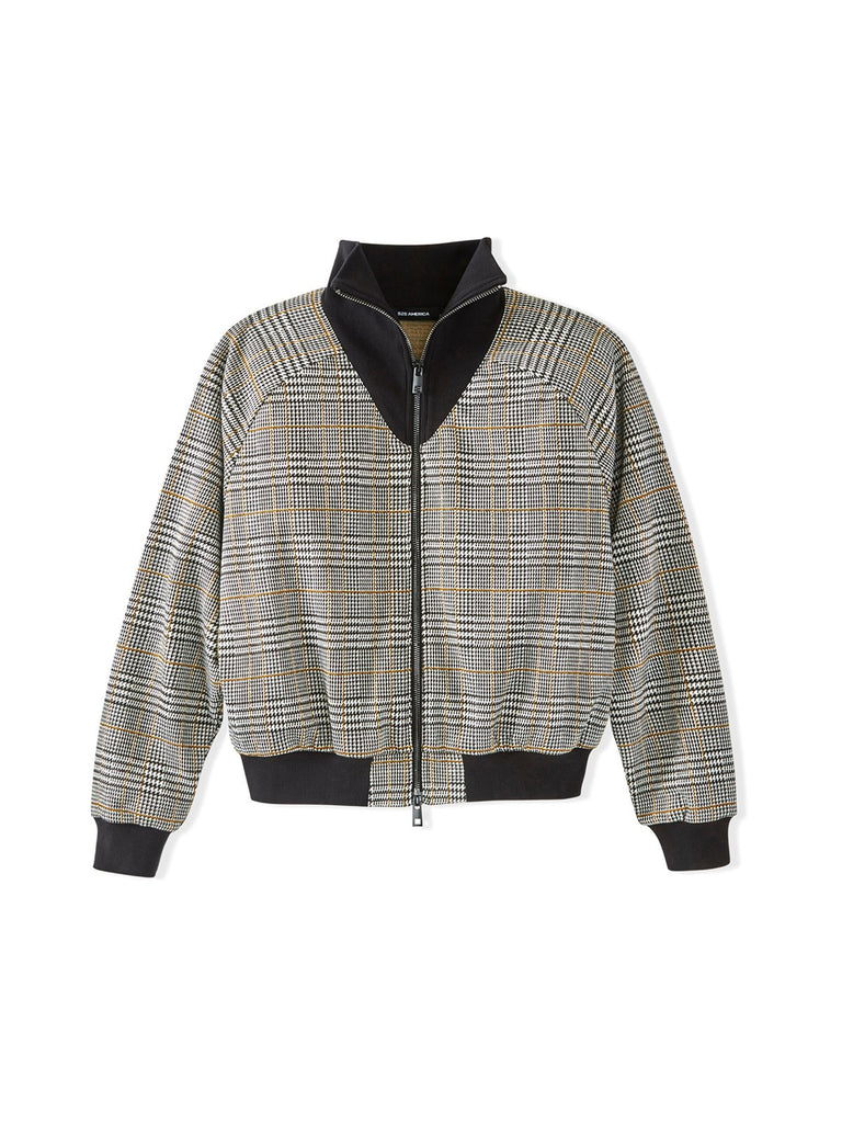 525 America Glen Plaid Funnel Neck Bomber Jacket