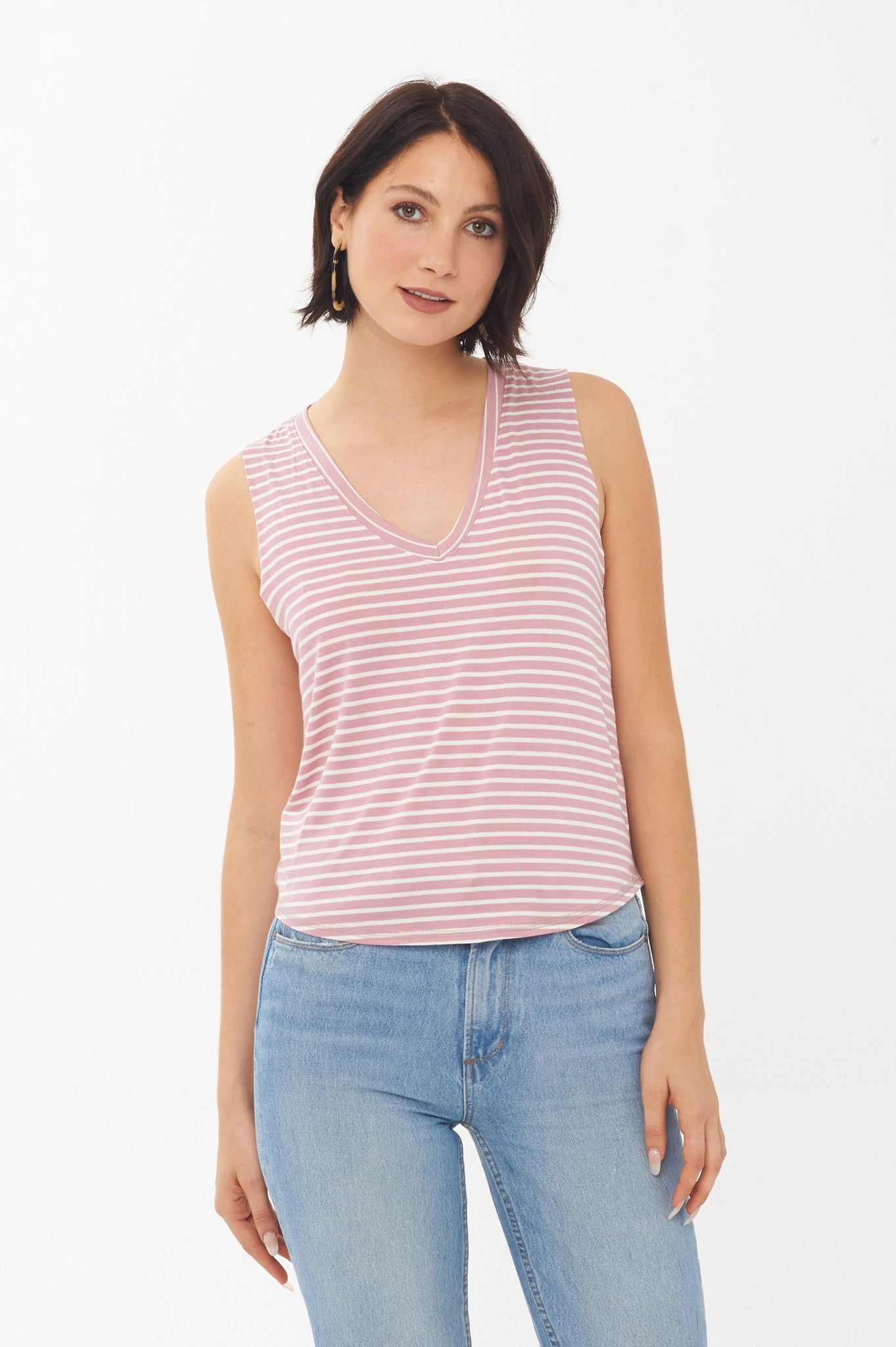Project Social T Stripe Mix V Tank